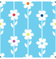 simple white and blue daisy design repeat pattern vector image