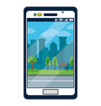 smartphone with park background on screen vector image
