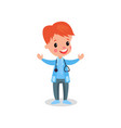 smiling redhead boy doctor in professional vector image vector image