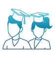 students in graduation avatar vector image vector image