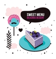 Sweet menu Delicious dessert blackberry cake vector image vector image