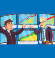 trading market actively shouting people in vector image