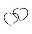 two hearts as one simple doodle