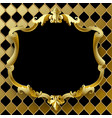 vintage gold frame with black field on rhomboids vector image