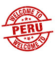 welcome to peru red stamp vector image vector image