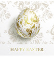 white happy easter card egg with a golden floral vector image