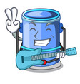 with guitar cylinder bucket with handle on cartoon vector image vector image