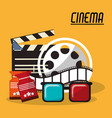 collection cinema film reel strip glasses and vector image