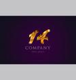 14 fourteen gold golden number numeral digit logo vector image vector image
