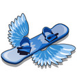 a snowboard with wings isolated on white vector image vector image