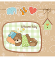 baby shower card with teddy bear toy vector image