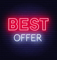 best offer neon sign on dark background vector image vector image