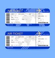 boarding passes or air tickets on blue background vector image