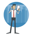 Businessman talking on the phone and reading vector image
