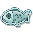 cartoon blue cute fish sticker icon vector image vector image