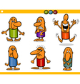 cartoon people emotions set vector image vector image