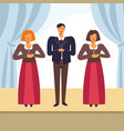 choir people singing on opera stage vector image vector image