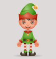 christmas elf boy santa claus helper new year 3d vector image vector image