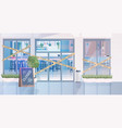 closed cafe building with yellow tape coronavirus vector image