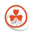 Clover sign sticker orange vector image vector image