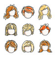 collection cute girls faces human head flat vector image vector image