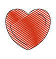 color crayon silhouette red heart shape symbol vector image