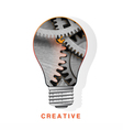 Conceptual icon light bulb inside metal gear vector image