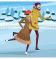 Couple on private ice rink vector image