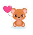cute little bear sitting on a sweet blue cloud vector image vector image