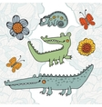 Cute set of hand drawn crocodiles vector image