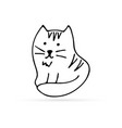 doodle cat icon isolated outline kids hand drawn vector image vector image
