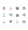 exhibition places flat color icons set vector image vector image