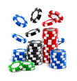falling casino chips or stack of gambling tokens vector image
