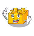 finger plastic building tyos shaped on mascot vector image