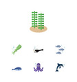 flat icon nature set of playful fish seaweed vector image vector image