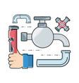 flat set icon tools plumbing vector image vector image