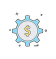 gear money dollar icon design vector image