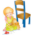girl and toy dog vector image