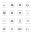 gray web icon set 6 with rounded rectangle frame vector image vector image