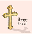 hand drawn easter gift card with orthodox cross vector image vector image