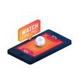 handball field on phone screen online concept vector image vector image