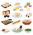 japanese food sushi asian rice with fish vector image vector image