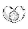 line heart medicine symbol to help the people vector image vector image