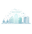linear san diego city skyline background vector image vector image