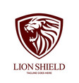 lion shield logo design vector image