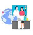 man and woman videochat app in computer vector image vector image