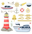 nautical navy boats anchor wheel marine and vector image vector image