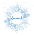 outline saransk russia city skyline with blue vector image vector image
