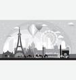 paris skyline silhouette 7 vector image