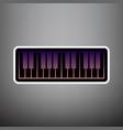 piano keyboard sign violet gradient icon vector image